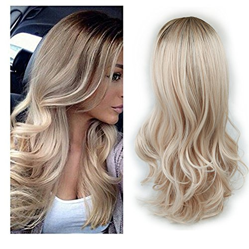 Lady Miranda Ombre Wig Brown To Ash Blonde High Density Heat Resistant Synthetic Hair Weave Full Wigs For Women