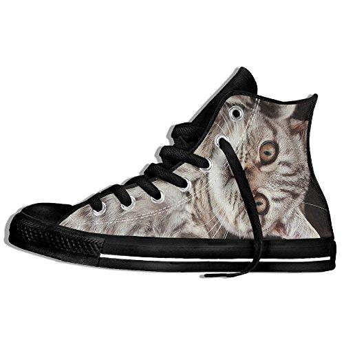 Classic High Top Sneakers Canvas Zapatos Antideslizante British Cat Casual Walking Para Hombres Mujeres Negro