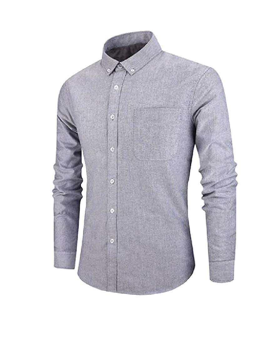 AngelSpace Men Long Sleeve Warm Button Premium Single Breasted Longshirt