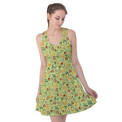 PattyPattern Womens Camping Elements Line Drawing Pattern Reversible Sleeveless Dress (Propane Spot Prices)