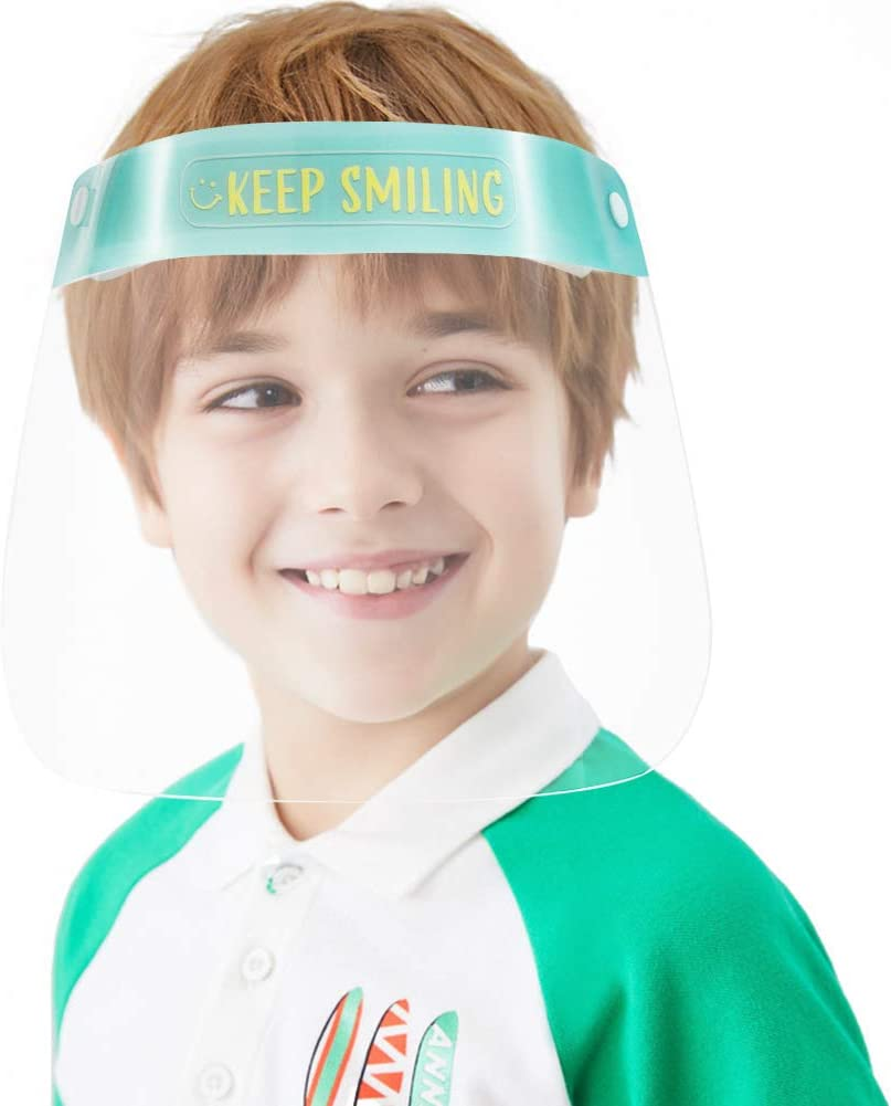 6Pcs Kids Face S̲h̲i̲e̲l̲d̲ Lightweight Transparent Safety Face Protective Full Face Covering with Elastic Band for Children