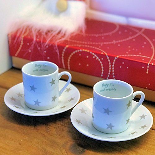 The Gastro Chic BABY ITS COLD OUTSIDE, Set of 2 Espresso Cups and Saucers, White Glazed Porcelain with Gray Stars, Teal Word Art, 4 Inches Diameter, 2 1/2 Inches Tall, By Whole House Worlds (Saucers Porcelain Glazed White)