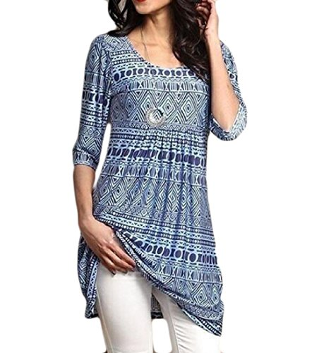 Tunic High Print 3 Blue Coolred Dress Floral 4 Sleeve Waist Women's Pullover wq4WnWOxF