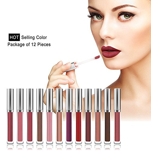 Matte Liquid Lipstick, Ochine Waterproof Long-Lasting 12pcs Pigmented Lip Gloss Set