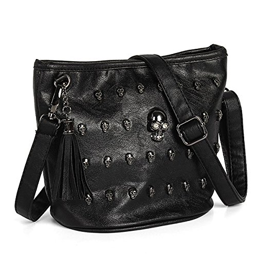 [1pc Skull Face Studs Punk Rivet Shoulder Bag PU Leather Goth Tassels Vintage Messenger Tote Handbag] (Goth Dress)