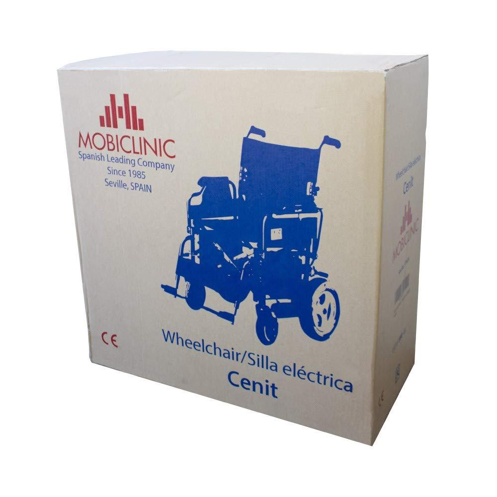Mobiclinic Silla de Ruedas eléctrica | Plegable | Ligera | Minusválidos | Acero | Auton. 20 km | 24V | Negro | Cenit