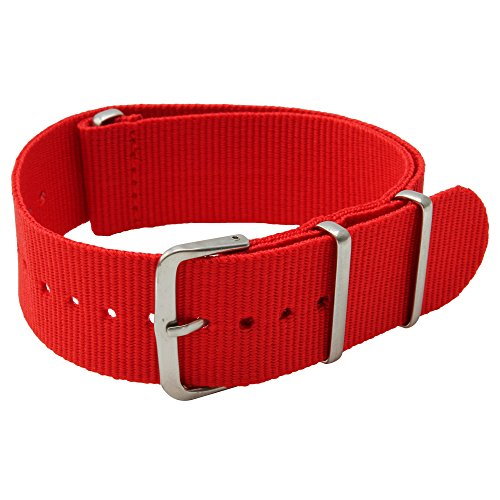 22mm Red Nylon Replacement Watch Strap with free installation kit including 4 spring bars and removal tool - [BWC]