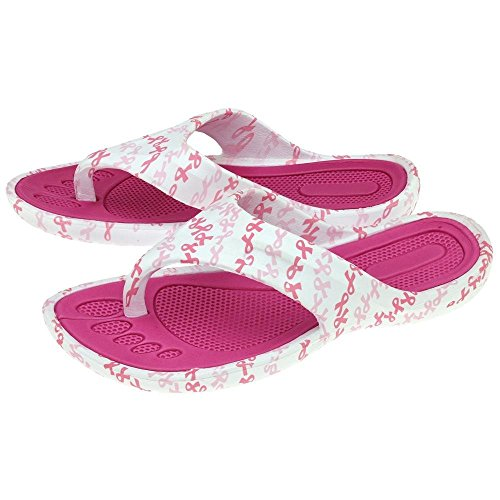 GreaterGood Pink Ribbon Party Flip Flops (8) Breast Cancer Flip Flop