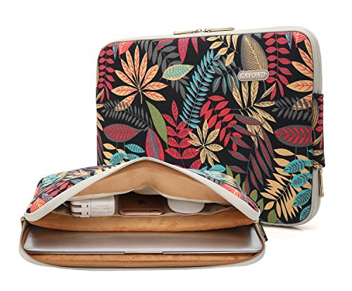 (KAYOND Canvas Water-Resistant for 11-11.6 Inch Laptop Sleeve Case Bag (11-11.6 Inches, Forest Series Black))