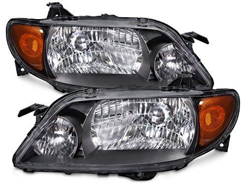 (HEADLIGHTSDEPOT Compatible with Mazda Protege 4-Door Sedan Only Metal Bezel Headlights Set New)