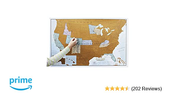 Maps International Scratch Off Map of The US – USA Wall Map – Scratch Off –  Detailed Cartography - US States - National Parks - 36 x 24