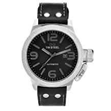 TW Steel Men's Automatic Stainless Steel Case Black Leather Strap Watch