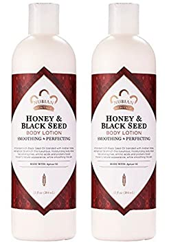 Nubian Heritage Honey Black Seed Body Lotion Pack of 2 with Shea Butter, Cocoa Seed Butter, Olive Oil, Aloe Vera Juice, Black Seed Oil, Honeysuckle Extract and Apricot Kernel Oil, 13 oz