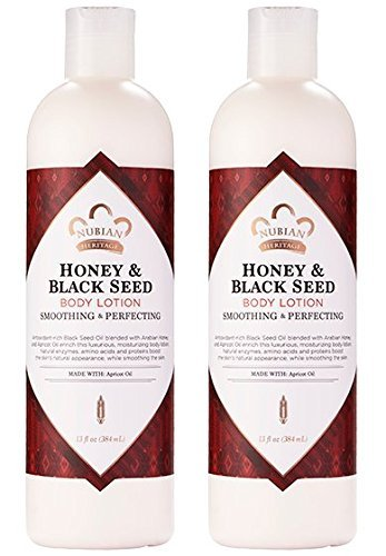 Cocoa Olive Butter Oil (Nubian Heritage Honey & Black Seed Body Lotion (Pack of 2) with Shea Butter, Cocoa Seed Butter, Olive Oil, Aloe Vera Juice, Black Seed Oil, Honeysuckle Extract and Apricot Kernel Oil, 13 oz)