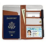 TLG Multi Purpose Wallet/Passport Holder for Women/Men to secure your boarding passes (BROWN)