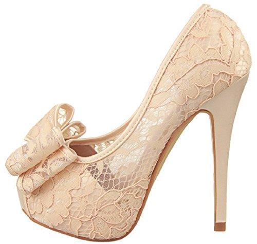 HooH Women's Lace Peep Toe Bowknot Wedding Pumps 1387-2 Beige yKLZ6rhAbl