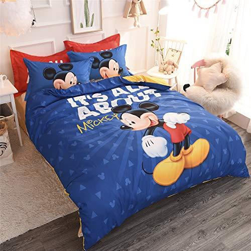 Cenarious Preppy Blue Mickey Mouse Disney Cartoon Style Duvet Cover Set Cotton Flat Sheet Bed Cover - 4Pcs Bedding Set - Queen Flat Sheet Set - 86