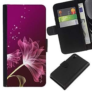 KLONGSHOP // Tirón de la caja Cartera de cuero con ranuras para tarjetas - Pétalo púrpura protagoniza rosada - Sony Xperia Z3 D6603 //