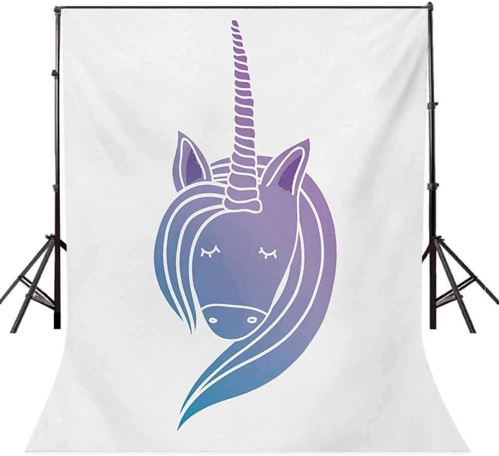 Unicorn 6.5x10 FT Backdrop Photographers,Silhouette of a Mythical Horse with Horn Doodle Ancient Creature Design Background for Baby Shower Birthday Wedding Bridal Shower Party Decoration Photo Studio