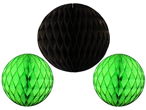 (3-piece Set of Honeycomb Tissue Paper Party Balls (Black Lime))