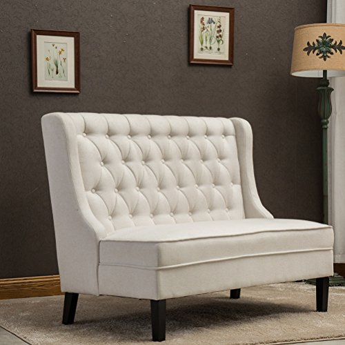 Tongli Button-Tufted Upholstered 2-Seater Loveseat Settee with Tall Wingback Chair