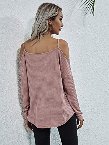 Romwe Women's Raw Hem Open Cold Shoulder Top Long Sleeve Heathered Pullover Tee Shirt
