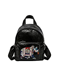 Amazingdeal Mini Backpack School Bags PU Leather Cartoon Embroidery Shoulder Bag for Women