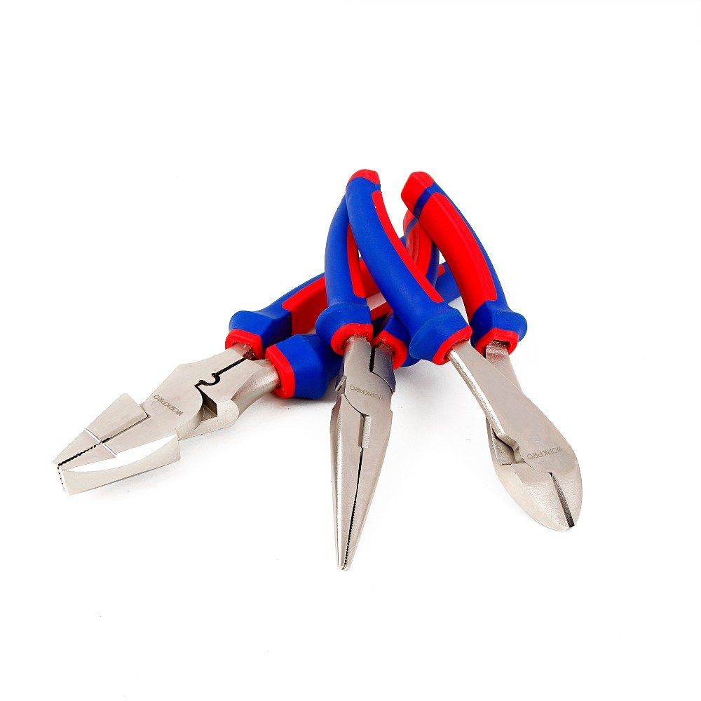 WORKPRO 7'' 8'' 9'' Electrician Pliers Set Cable Wire Cutter Hand Tool Set