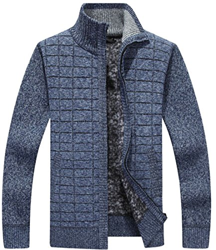 Men's Cardigan amp;W With Knit Pockets Thick Zip M Full 3 Slim Sweaters amp;S ZEnUwq1HS