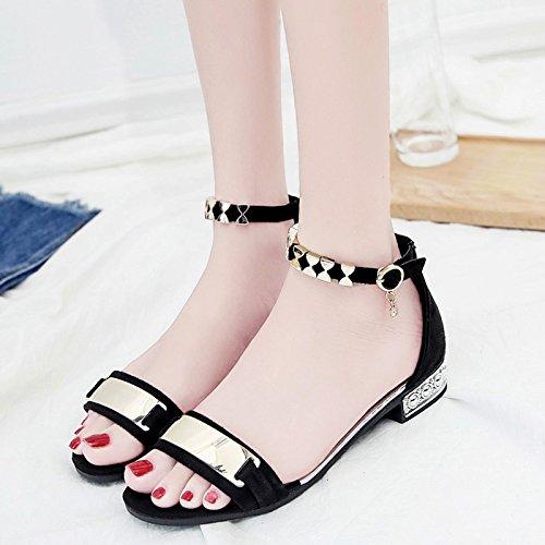 RUGAI-UE Zapato Abierto simples sandalias zapatos de moda de verano para estudiantes Black