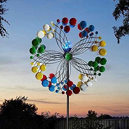 so Smart Solar Large 2m LED Lights Garden Wind Spinner Harlequin
