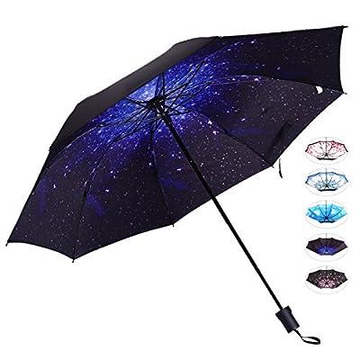 Compact Travel Umbrella for Women Anti-UV Sun Rain Starry Night J&B Umbrellas