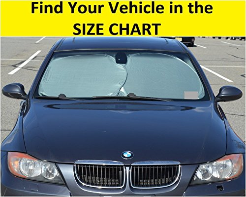 Car Windshield Sun Shade - Blocks UV Rays Sun Visor Protector, Sunshade To Keep Your Vehicle Cool And Damage Free,Easy To Use, Fits Windshields of Various Sizes (Classic 59 x 27.55 inches)