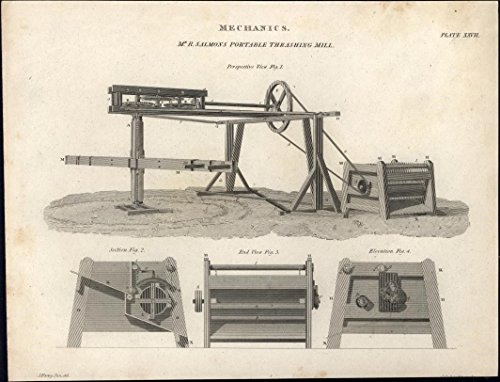 Salmon's Mechanics Portable Thrashing Mill image c.1812 antique engraved -