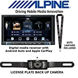 Alpine ILX-207 Digital Media Receiver with Apple CarPlay and Android Auto Packaged with Universal License Plate Style Rear View Backup Camera and a SOTS Lanyard