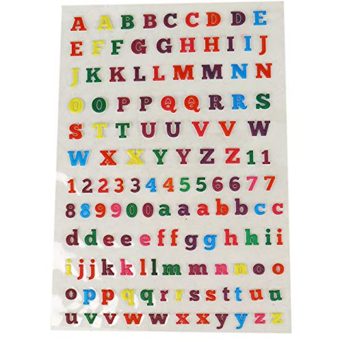 WSSROGY 6 Sets / 12 Sheets Letter Stickers Glitter Alphabet Sticker Self Adhesive Letters and Number Stickers ()