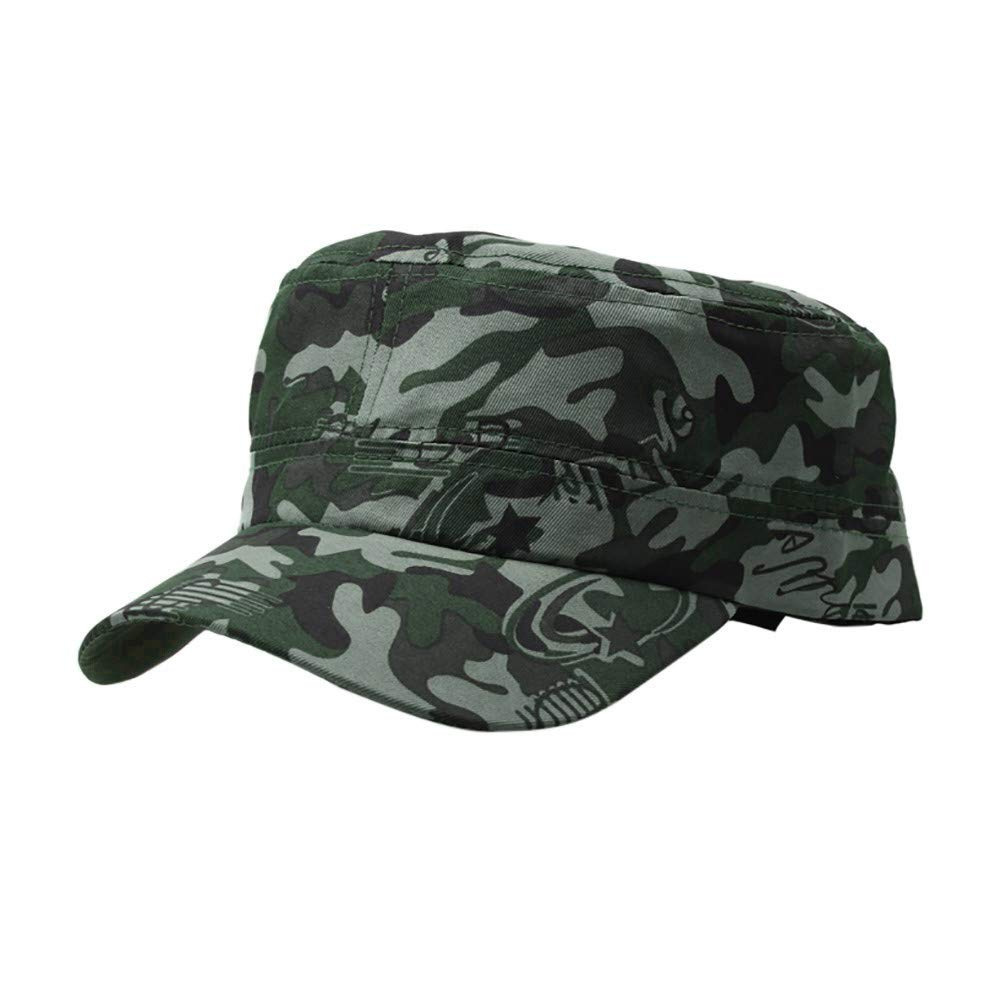 Mens Camouflage Military Cotton Hat Summer Army Peaked Dad Cap Adjustable Distressed Washed Cadet Patrol Bush Hat (Green)