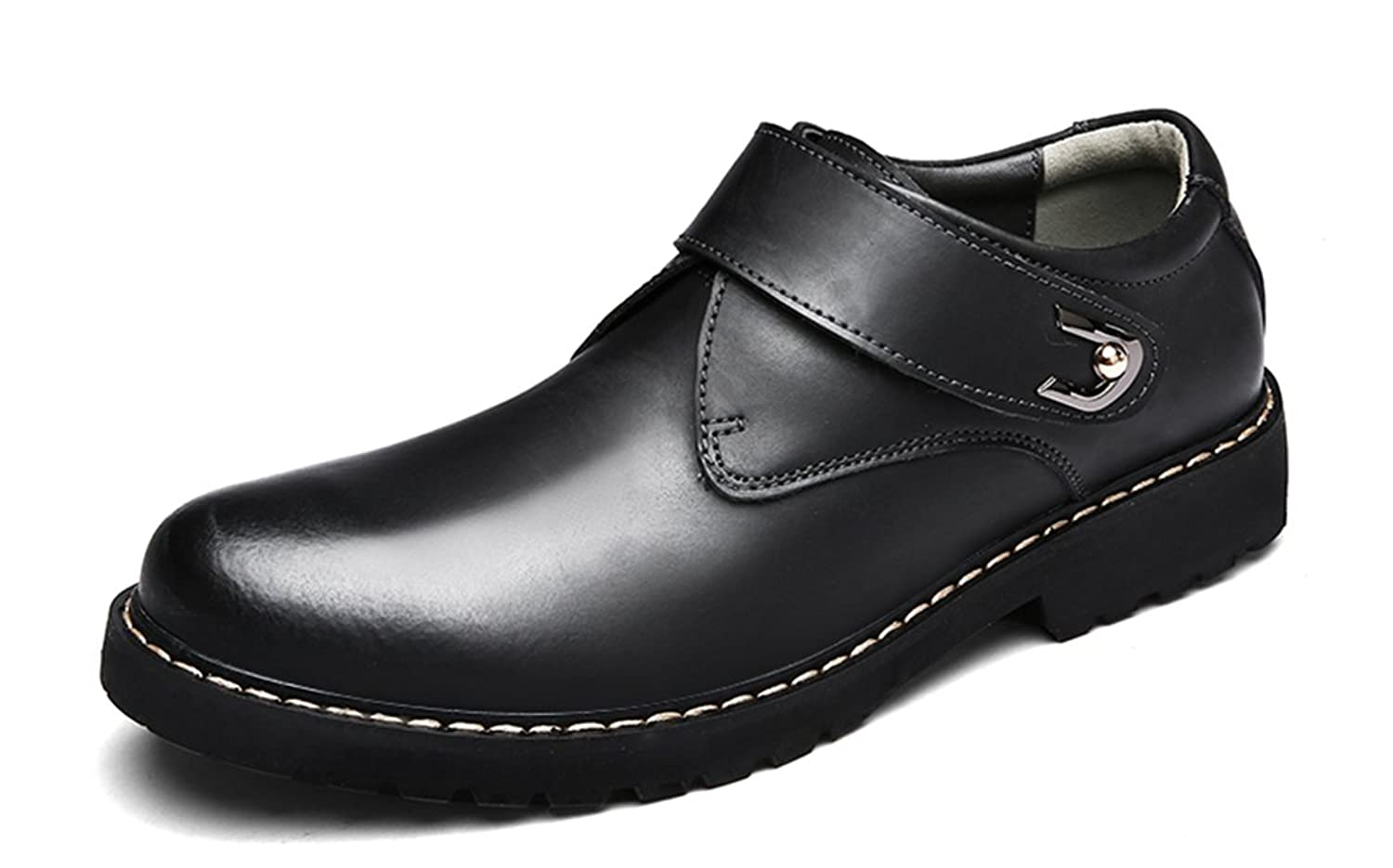Men's Slip-on Loafers Rubber Sole Leather Dress Work Office Shoes