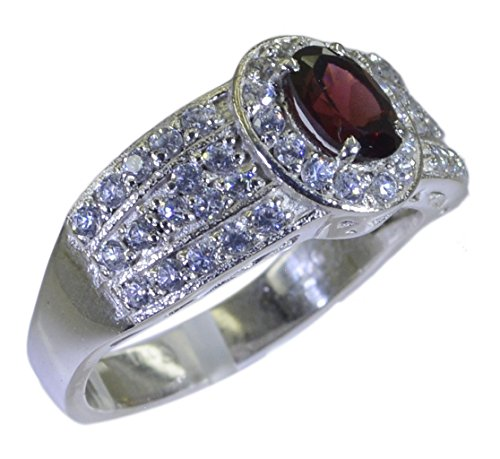 - CaratYogi Genuine Garnet Silver Wedding Ring Oval Shape Cluster Style Handcrafted Size 7