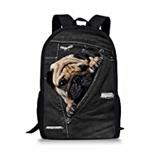 Coloranimal Cute Denim Cat Polyester Fabric Kids School Backpacks with Side Pockets