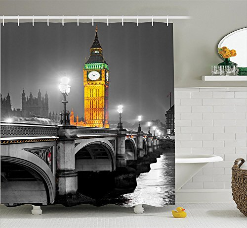 [London Decor Shower Curtain Set Ancient Big Ben View from the Street Palace of Westminster Touristic Great Britain Art Photo Bathroom Accessories] (Britain Costume Ideas)