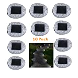 JHLIGHT 10 Pack LED Solar Waterproof Lawn Light Outdoor Fixture Night Light Garden Stakes Outside Decorative Solar Panel Fence Path Simulation Stone Solar Lamp for Aisle Patio Yard