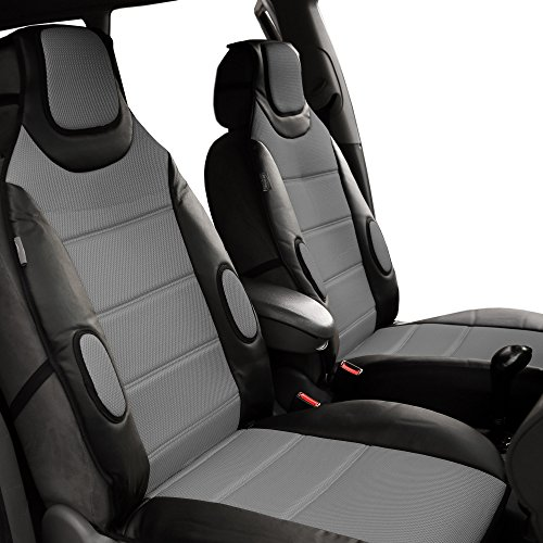 Tron Weve Cover (FH GROUP FH-FB202102 Pair set Leatherette Seat Cushion Pads with Fabric 3D Airmesh , Gray Black)