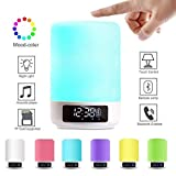 Keynice LED Bluetooth Speaker, Bedside Lamp,Touch Sensor Table Lamp, Dimmable Warm White Light&Color Changing RGB+Multicolor Dimmable Night Light, Alarm Clock,Military Time display - White