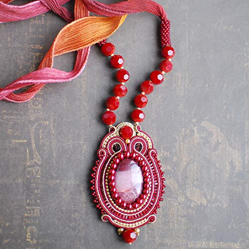 Soutache handmade embroidered oval dark red wine gold pendant with jasper, Beaded luxury small cocteil evening necklace, Fabric oriental gemstone bohemian sparkly boho ethnical jewelry for woman (Fabric Necklace Jasper)