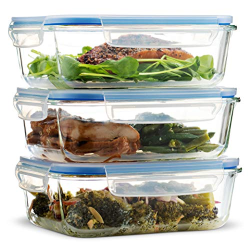 Superior Glass Meal Prep Containers - 3-pack (35oz) BPA-free Airtight Food Storage...