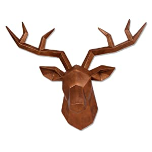 Keygift Deer Head Wall Decor Geometrical Antique Copper Deer Antler Wall Sculpture Faux Resin Animal Head Statue Wall Hanging Centerpiece Ready to Hang - 14x5.5x11 Inches