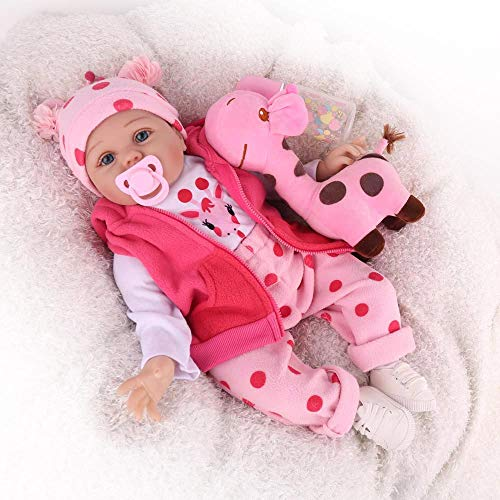 CHAREX 22 Inches Reborn Baby ,Newborn Baby Doll Real Silicone Baby Girl ,Weighted Babies Reborn Toddler Doll