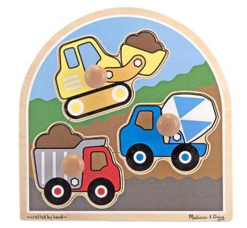 Bulldozer Knob (Construction Site 'Jumbo Knob' Puzzle + FREE Melissa & Doug Scratch Art Mini-Pad Bundle [33954])