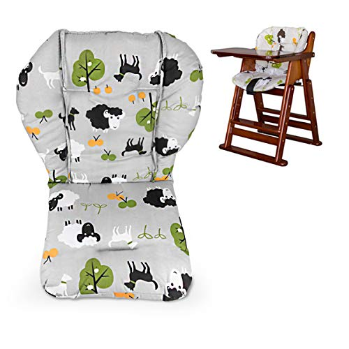 Twoworld High Chair Cushion, Large Thickening Baby Stroller/Car/High Chair Seat Cushion Liner Mat Pad Cover Protector Breathable (Grey Sheep) (Chair Cushions Seat High)